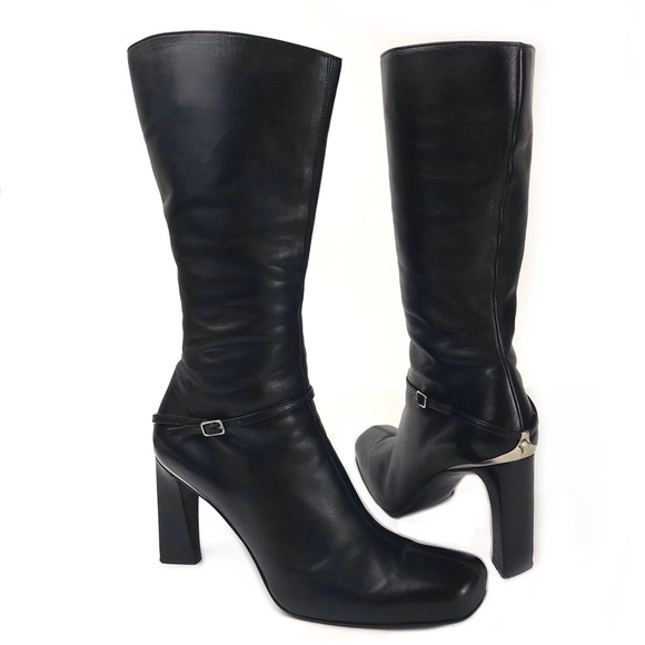012be954 Versace Black Leather Silver Medusa Strap 39 Boots